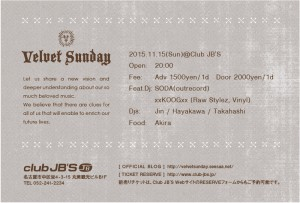 "2015.11.15(sun.) ""velvet sunday"" @Club JB'S ura"